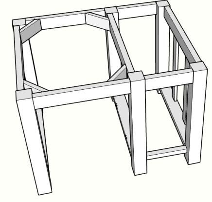 DIY kitchen island with drawer corner braces