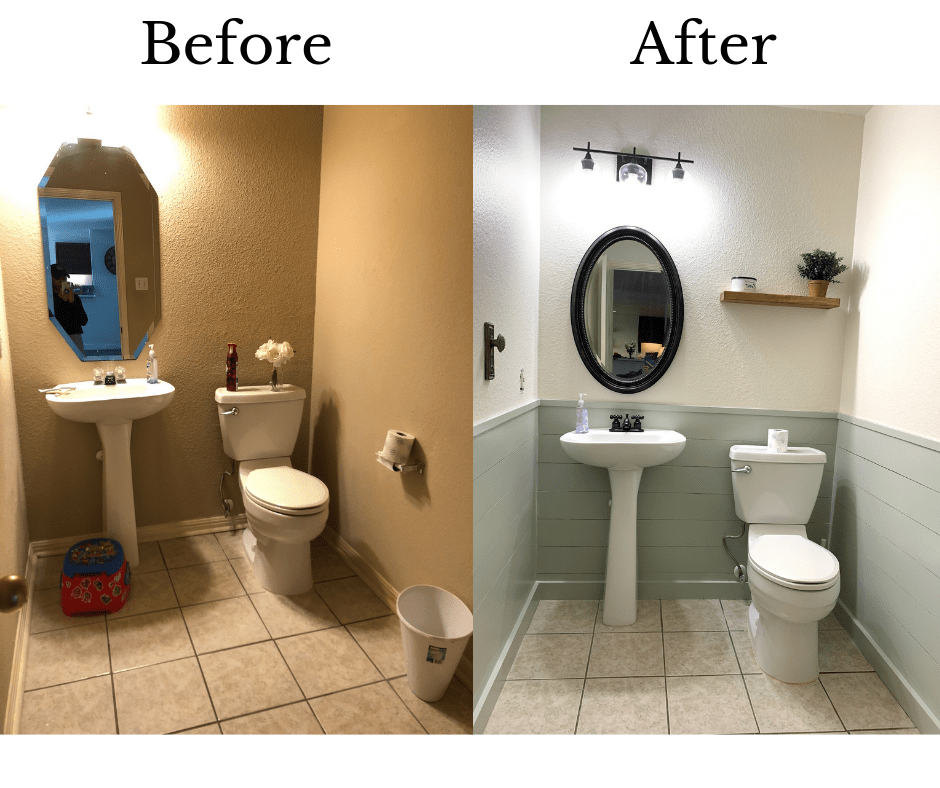 before and after powder room remodel HGTVs Fixer Upper Hot Sauce House inspired