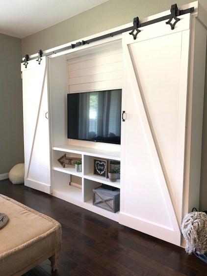 DIY Double Barn Door Entertainment Center - DIY double barn door