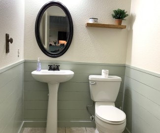 HGTVs Fixer Upper Hot Sauce inspired powder room