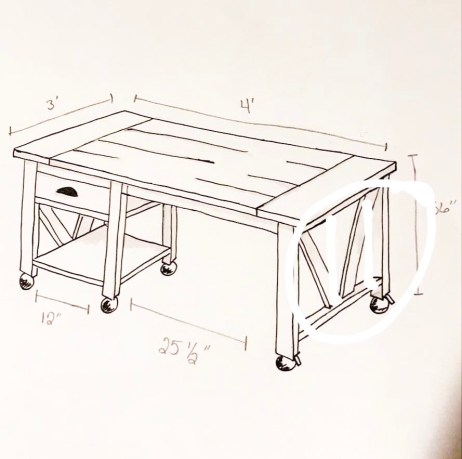 DIY Kitchen island sketch2