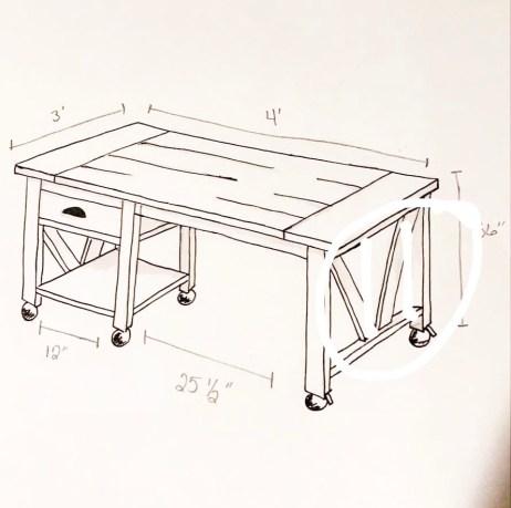 DIY Kitchen island sketch2