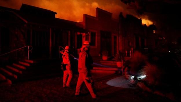 The wind driven Kincade fire burns near the town of Healdsburg, California