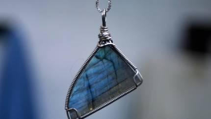 Wire wrapped Labradorite Freeform Cabochon