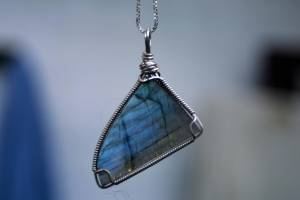 Labradorite Cabochon Wrapped In 925 Sterling Silver Wire