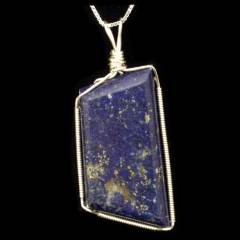 Sterling silver wire wrapped Lapis Lazuli cabochon