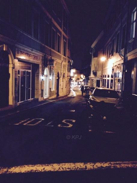 Sauntering down the street