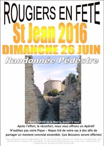 Randonnée pédestre sur Saint Jean  Dimanche 26 Juin 2016