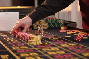 Roulette table and chips