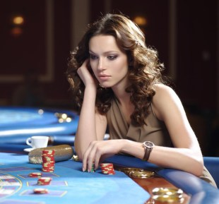 Girl playing roulette