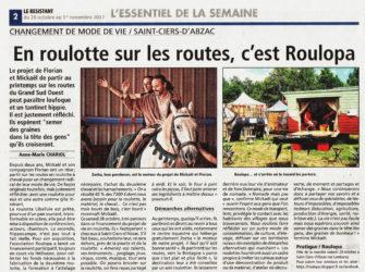 """article du journal local """"le résistant"""" du 26 octobre 2017"""