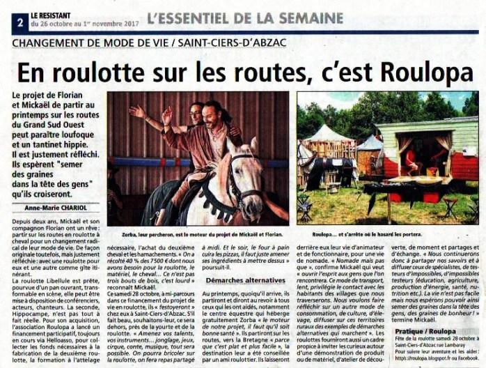 """article du journal local """"le résistant"""""""