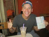 Celebrating getting our China Visas with bubble tea