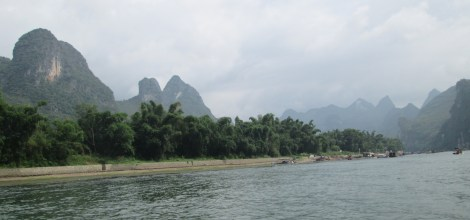 Li river shores, often with a few locals milling about