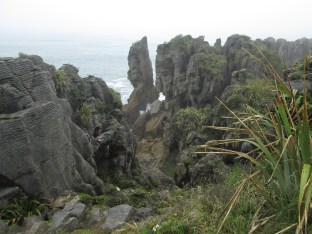 One of a handufl of views of Pancake rocks, cliffs overlooking the ocean