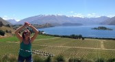Hoola-hooping with a view at the vineyard outside Wanaka