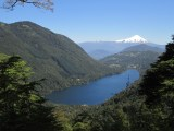 View back to the volcano across a lake during our hike in the National Park in Pucon
