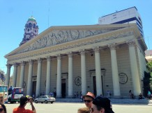 Church in Plaza de Mayo - beautiful inside. They were filming a movie about Pope Francis, who is from Buenos Aires