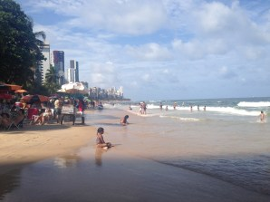 Boa Viagem beach in Recife - we stayed two blocks from here! Unfortunately, sharks are common so swimming is limited
