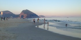 Kids playing football on Copacabana - always see this on the Brazil beaches