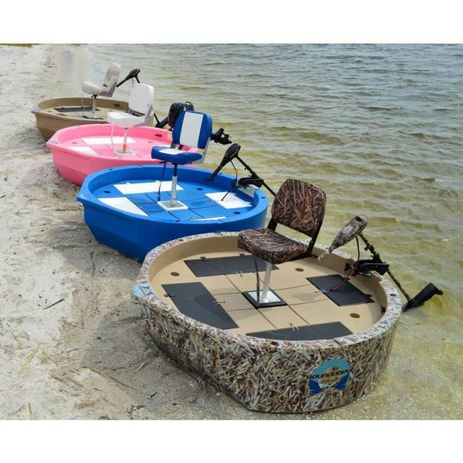 Round boat roundabout round skiff ultra shallow one or for Two man fishing boat
