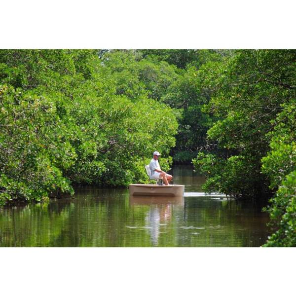 A fisherman looking for fish from a tan round boat in the mangroves