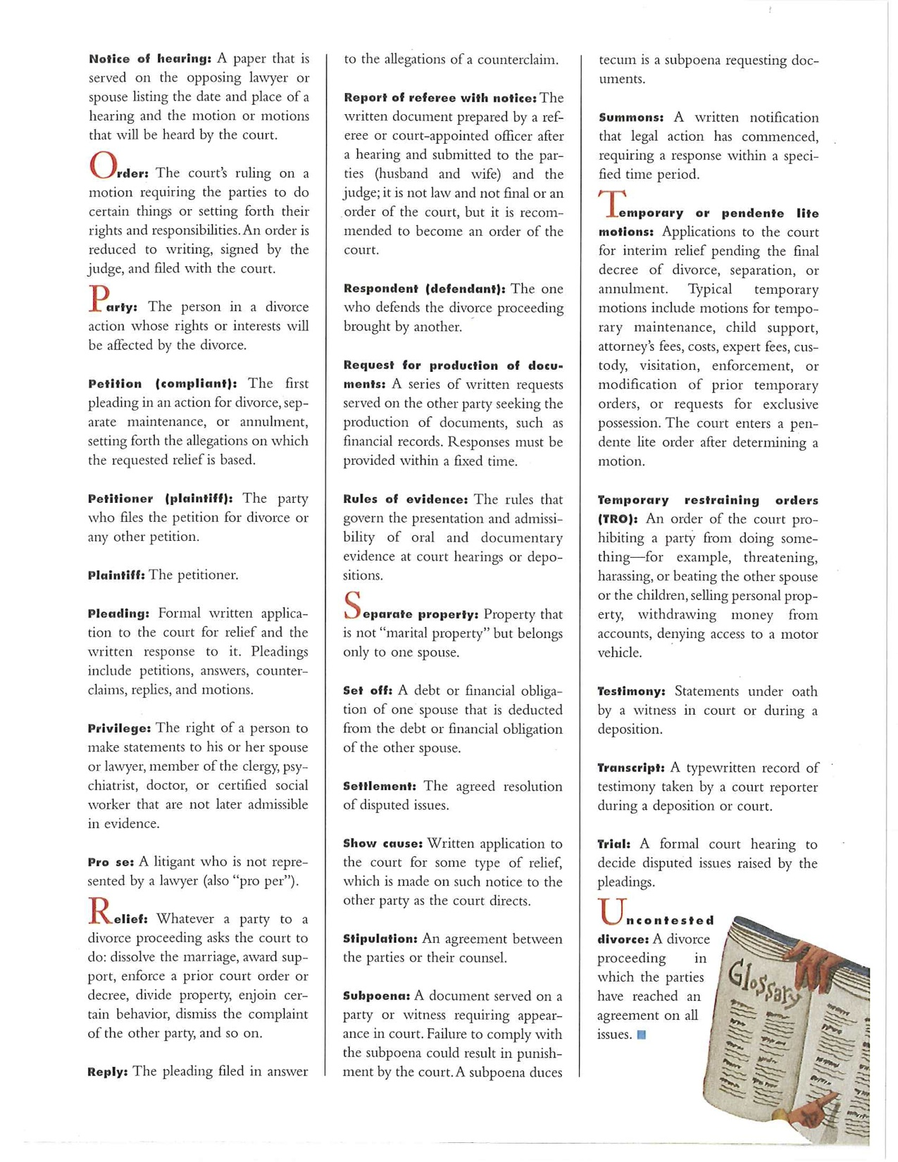 Glossary Terms Definitions: Legal Divorce Terms You Need To Know. A Handy Guide