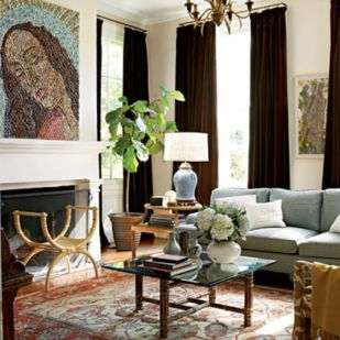 Cool brown and blue living room designs (12)