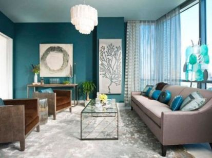 Cool brown and blue living room designs (13)