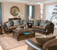 Cool brown and blue living room designs (22)