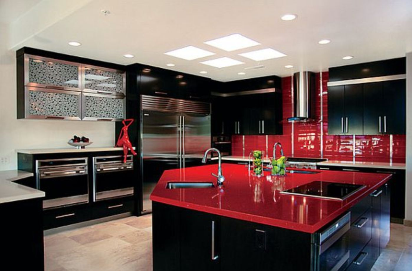 astonishing white kitchen red accents | 64 Amazing Black and Red Kitchen Decor Ideas Suitable for ...