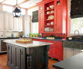 Amazing black and red kitchen decor 64