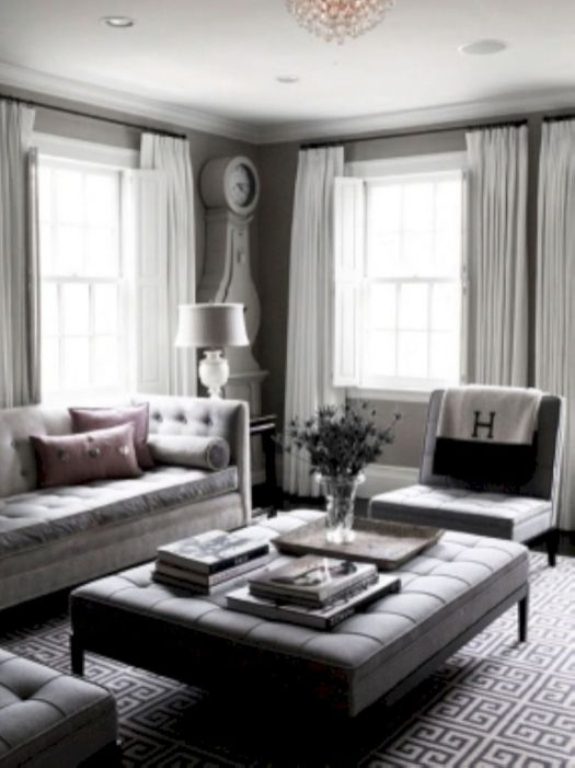 Beautiful grey living room decor ideas 47