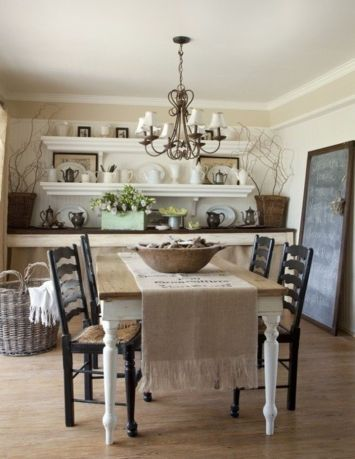 Beautiful shabby chic dining room decor ideas 19