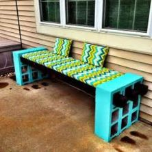 Cinder block furniture backyard 06