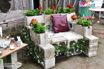 Cinder block furniture backyard 12
