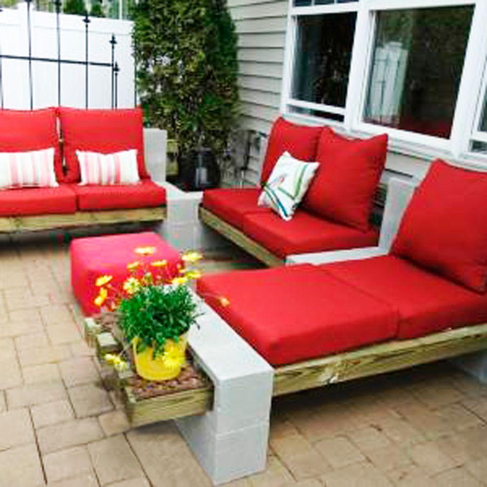 Cinder block furniture backyard 13