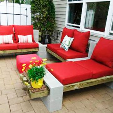 Cinder block furniture backyard 13