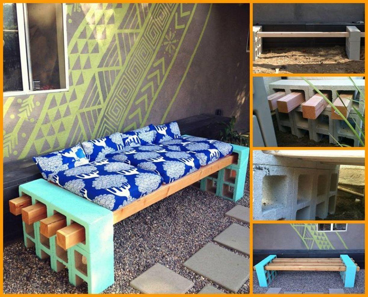 Cinder block furniture backyard 25