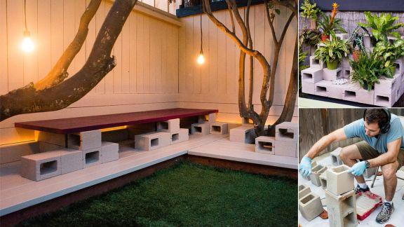 Cinder block furniture backyard 31