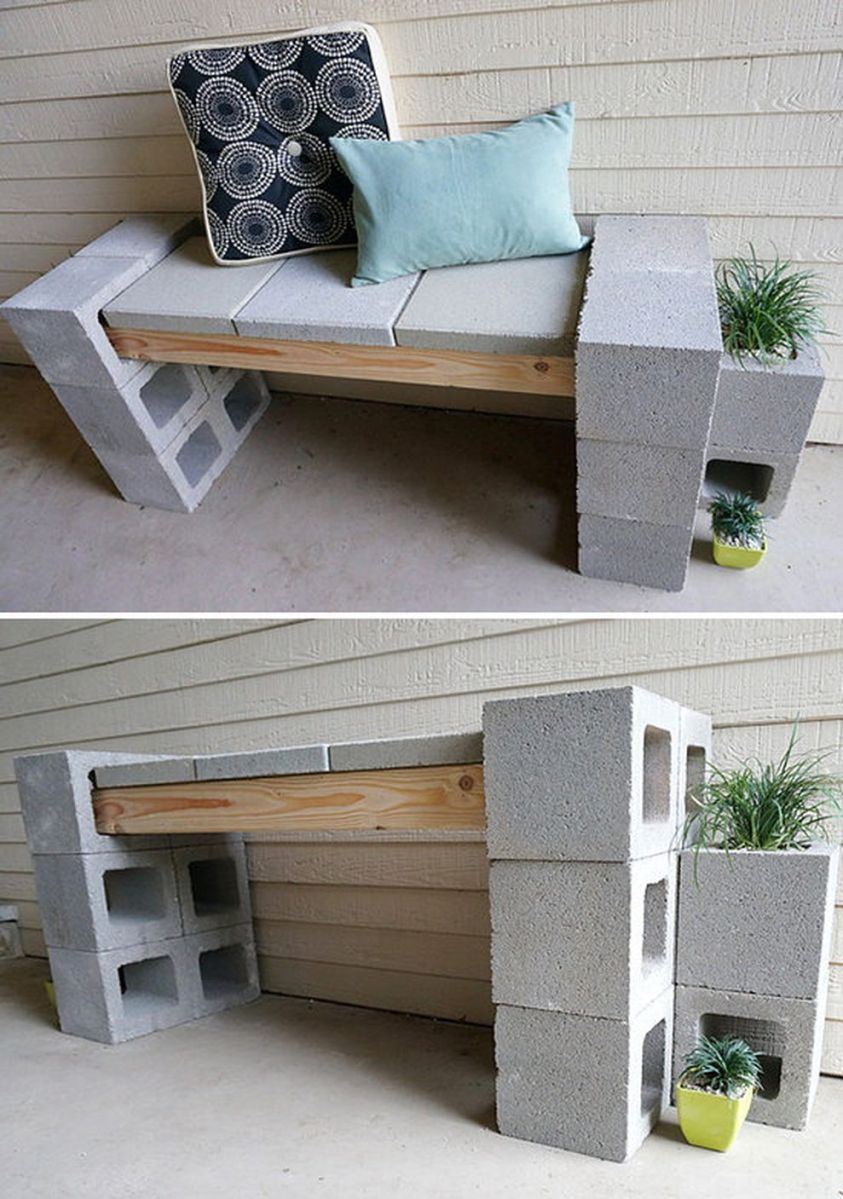 Cinder block furniture backyard 33