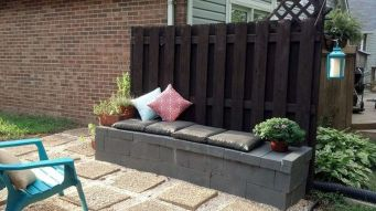 Cinder block furniture backyard 39