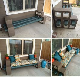Cinder block furniture backyard 46
