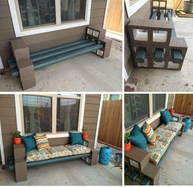 Cinder block furniture backyard 46