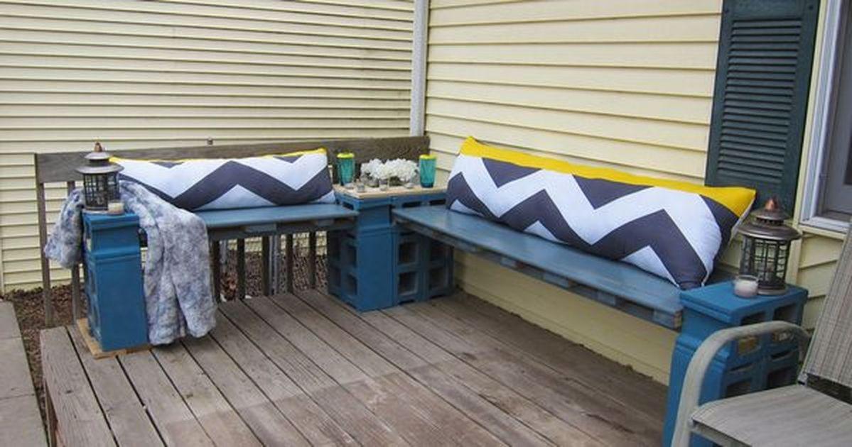 Cinder block furniture backyard 52