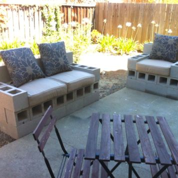 Cinder block furniture backyard 53