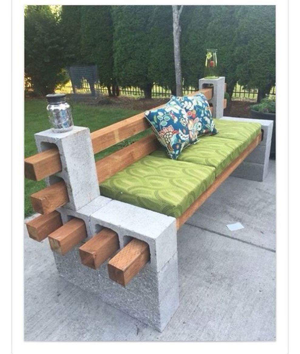 Cinder block furniture backyard 55