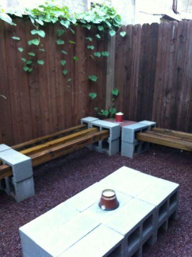 Cinder block furniture backyard 61