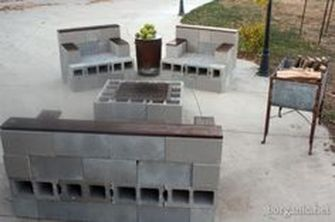 Cinder block furniture backyard 63