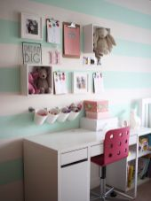 Cute bedroom design ideas with pink and green walls 37